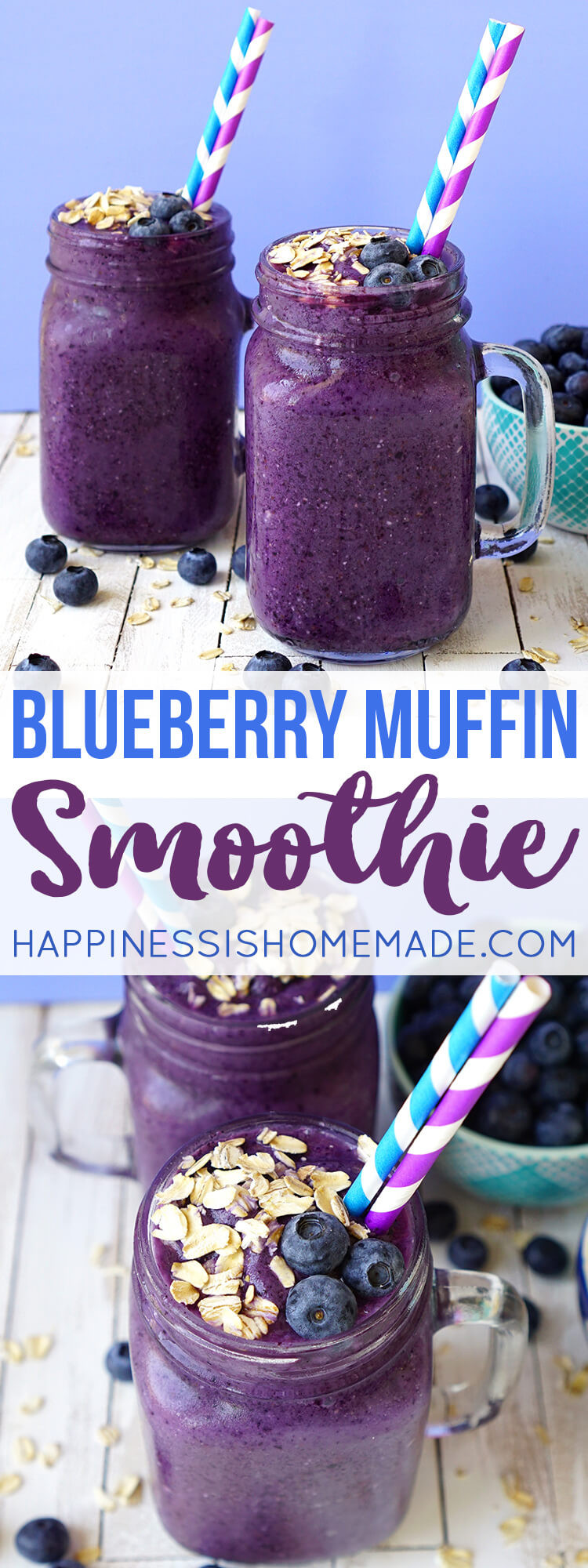 Blueberry Smoothies Healthy  Healthy Blueberry Muffin Smoothie Recipe Happiness is