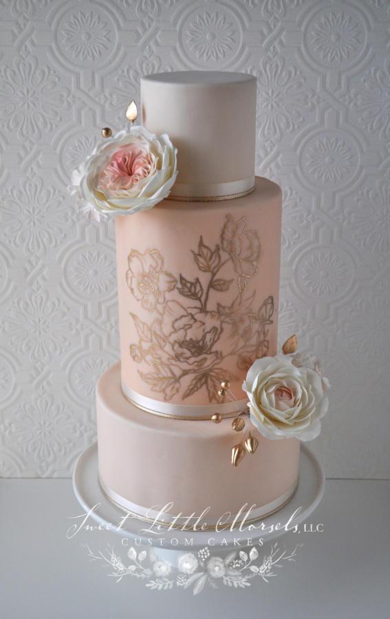 Blush Pink Wedding Cakes  Blush Pink and Gold Wedding Cake Cake by Stephanie