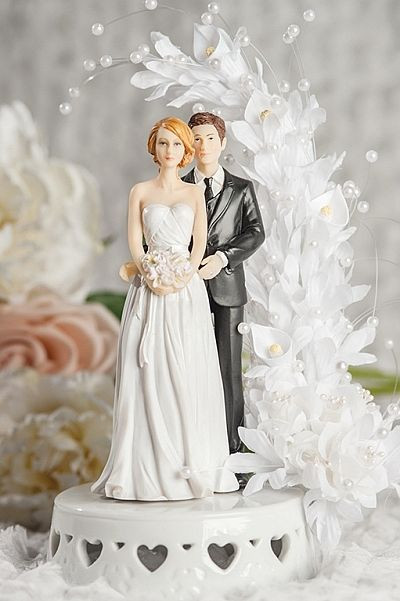 Bride And Groom Toppers For Wedding Cakes  Interracial Bride and Groom Calla Lily Arch Wedding Cake