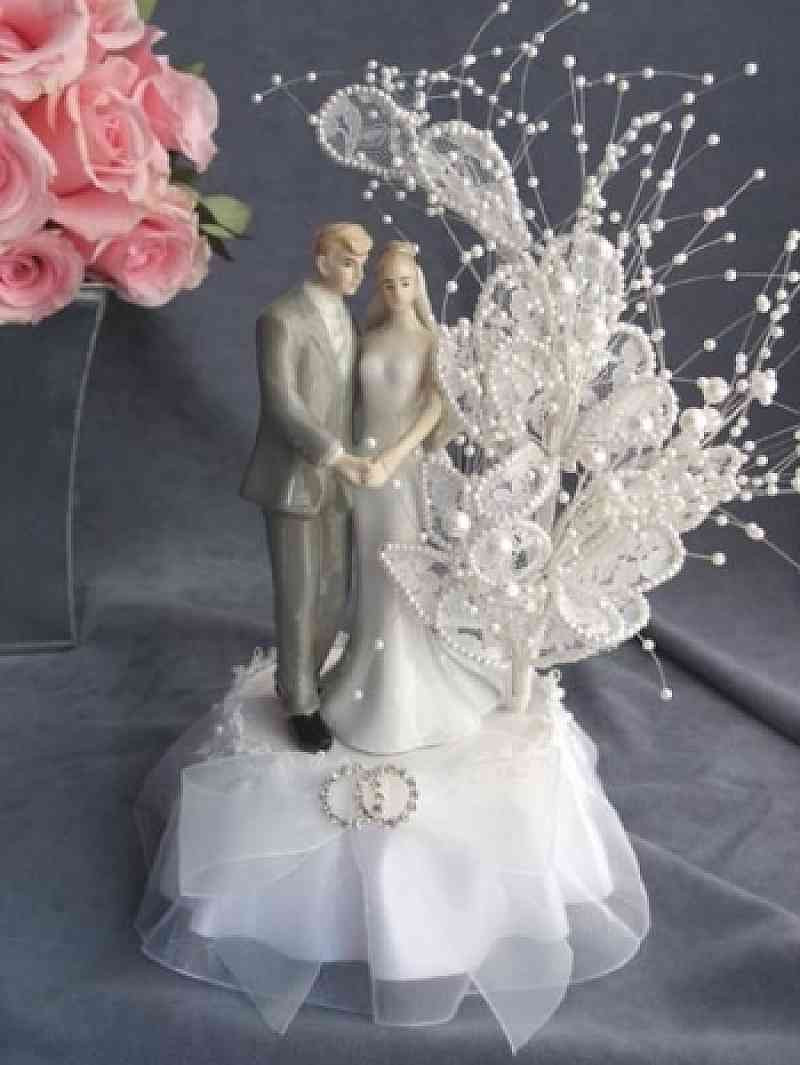 Bride And Groom Toppers For Wedding Cakes  Pearl Elegance Bride and Groom Cake Topper