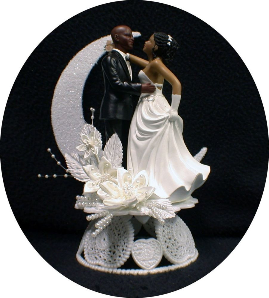 Bride And Groom Toppers For Wedding Cakes  Bald Hispanic Black African American groom and bride