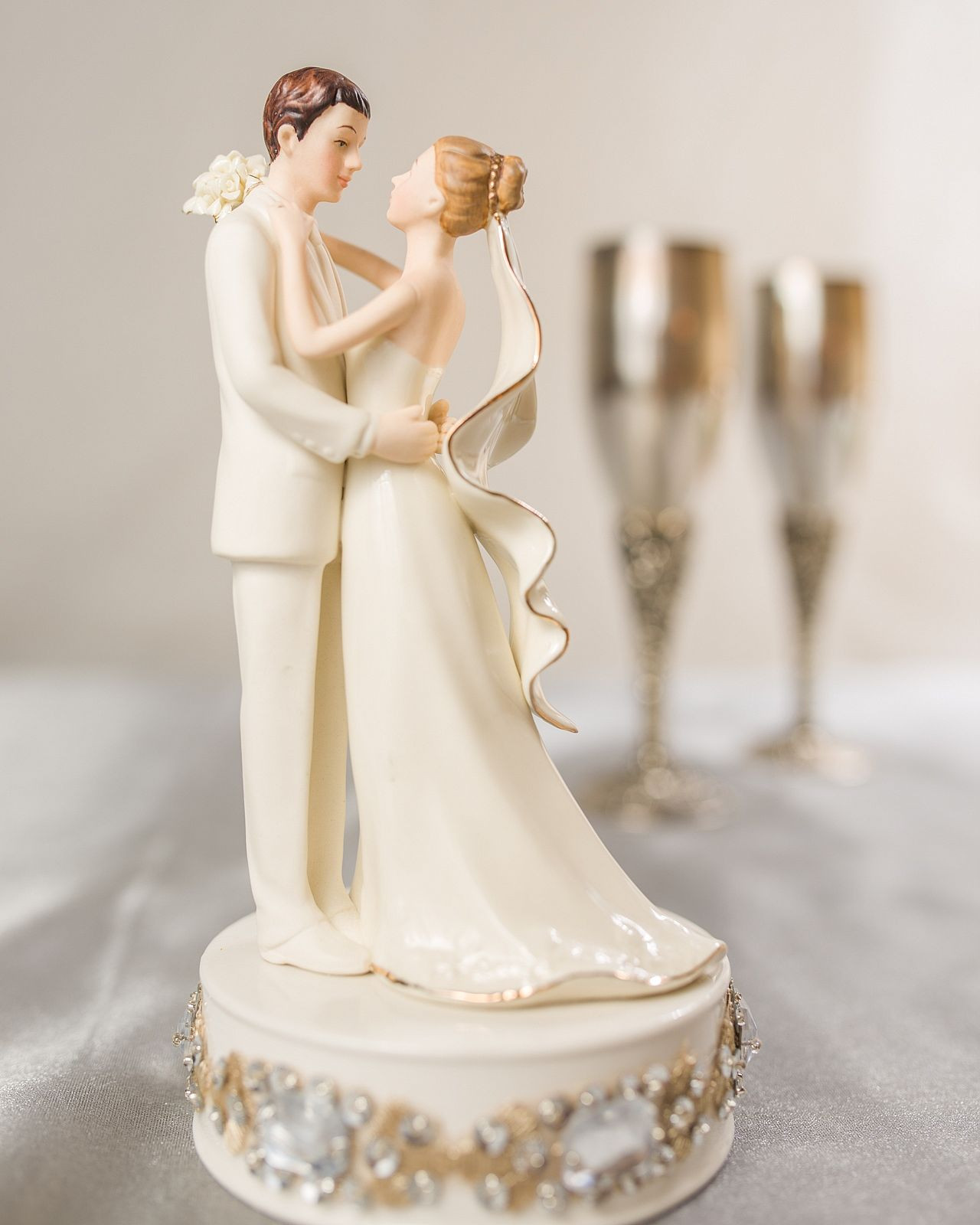 Bride And Groom Toppers For Wedding Cakes  Glam f White Porcelain Bride and Groom Wedding Cake