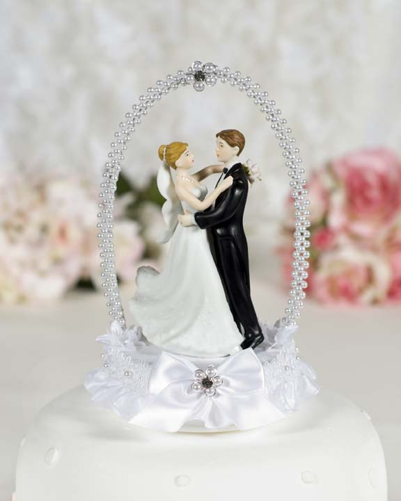 Bride And Groom Toppers For Wedding Cakes  Dancing Bride and Groom with Pearl Elegance Arch Cake