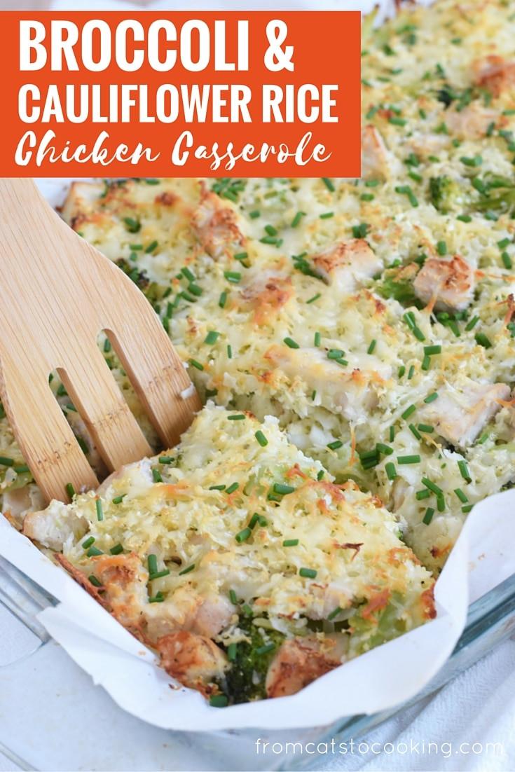 Broccoli Cauliflower Rice Casserole Healthy  Broccoli & Cauliflower Rice Chicken Casserole Isabel Eats
