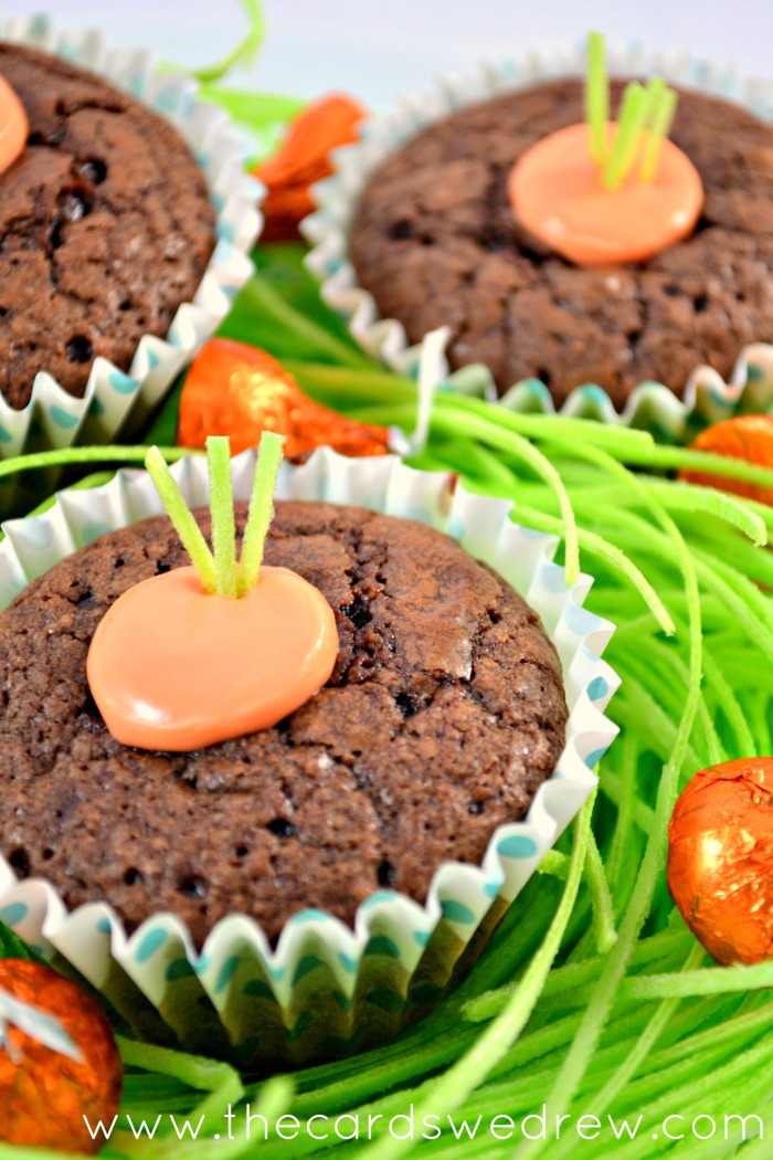 Brownie Easter Desserts  Carrot Brownie Cups Easter Dessert Idea  The Cards We