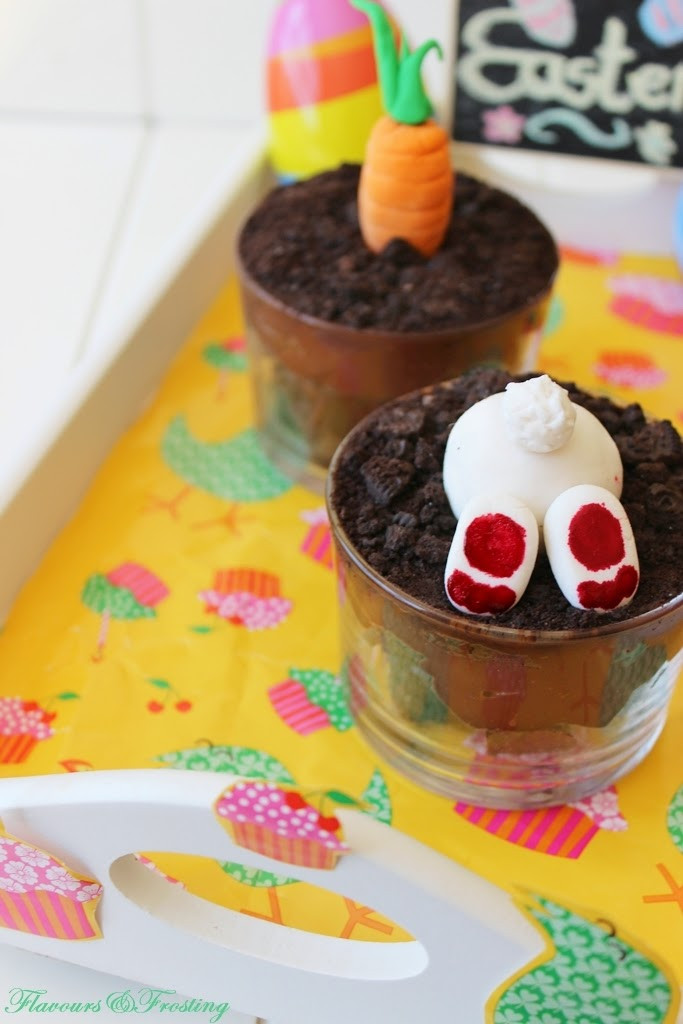 Brownie Easter Desserts  Oreo Brownie Dessert Pots for Easter Fondant Bunnies and
