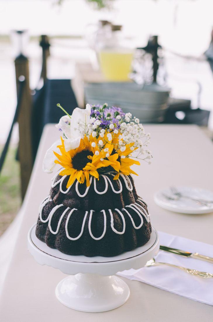 Bundt Wedding Cake  Tiered Bundt Wedding Cake With Sunflower