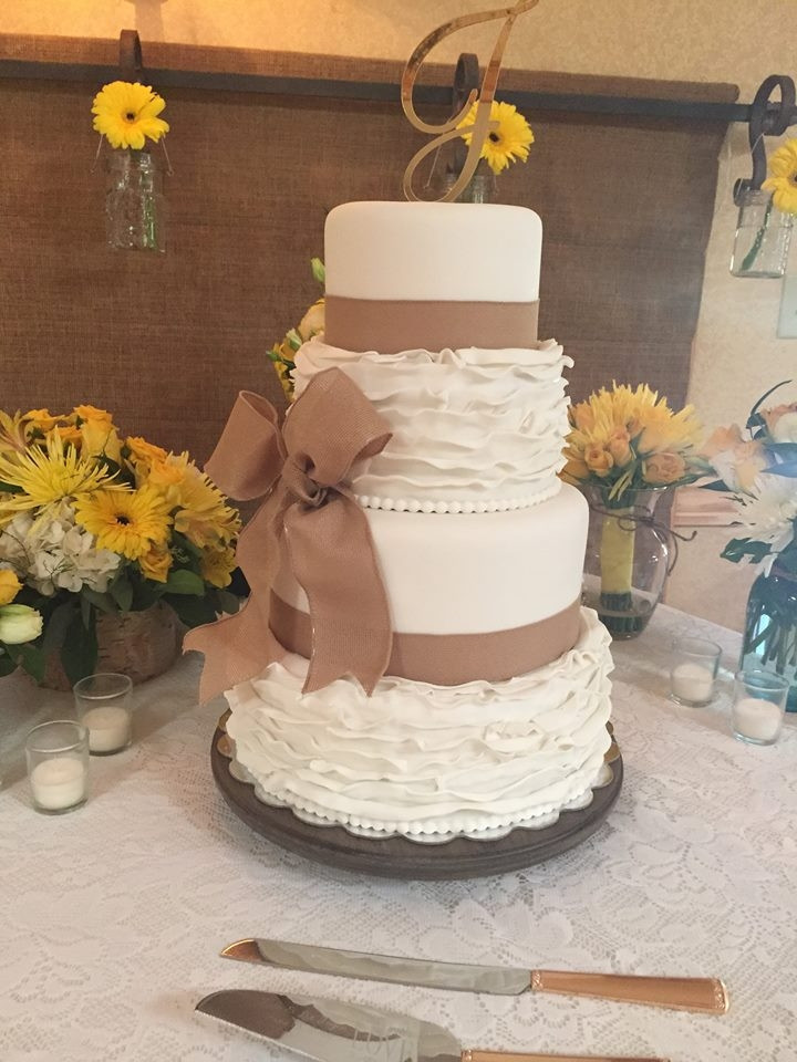 Burlap Wedding Cakes  Burlap & Ruffle Wedding Cake CakeCentral
