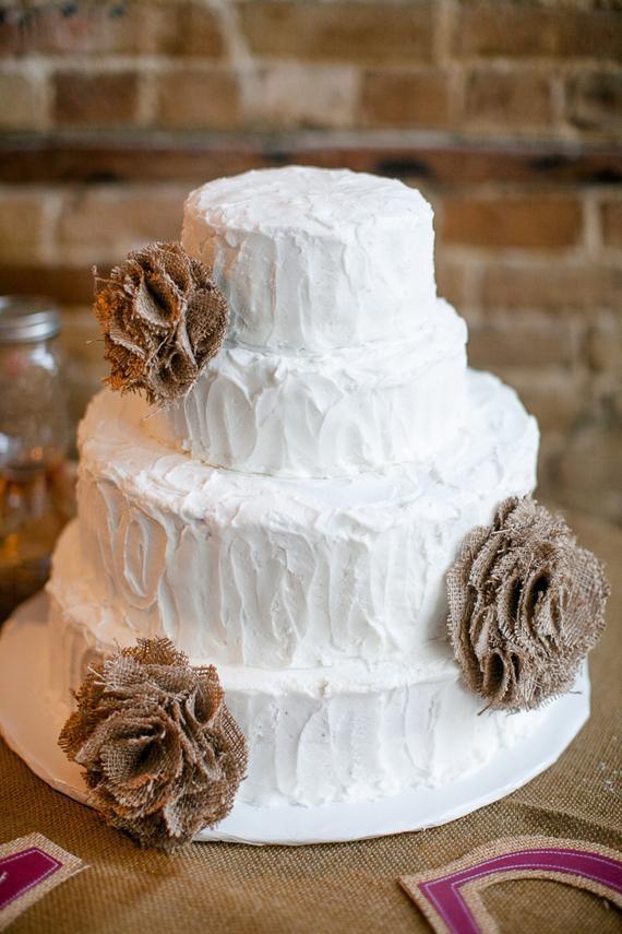Burlap Wedding Cakes  3 ooak natural burlap flower wedding cake decor toppers pew