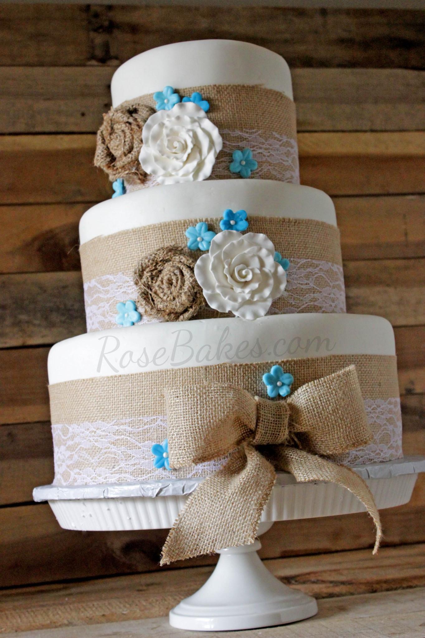 Burlap Wedding Cakes  Burlap & Lace Rustic Wedding Cake Rose Bakes