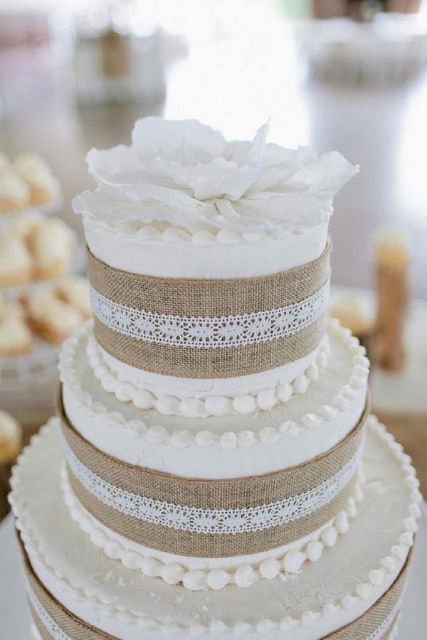 Burlap Wedding Cakes  Rustic Burlap & Lace Wedding Decorations And Inspiration