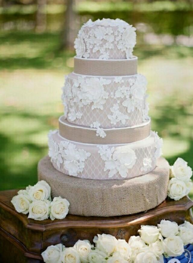 Burlap Wedding Cakes  Rustic Wedding Burlap Lace Wedding Cake Weddbook