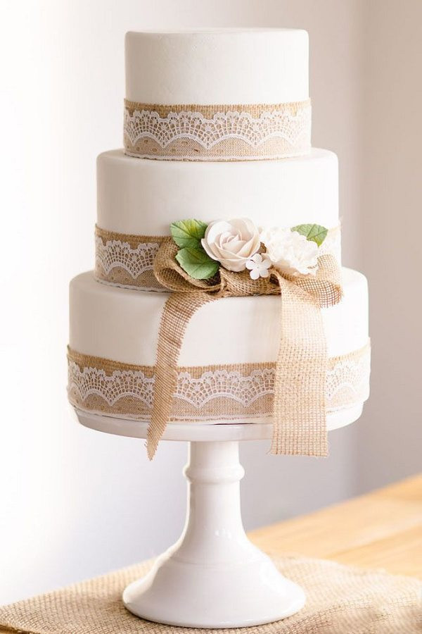 Burlap Wedding Cakes  30 Burlap Wedding Cakes for Rustic Country Weddings