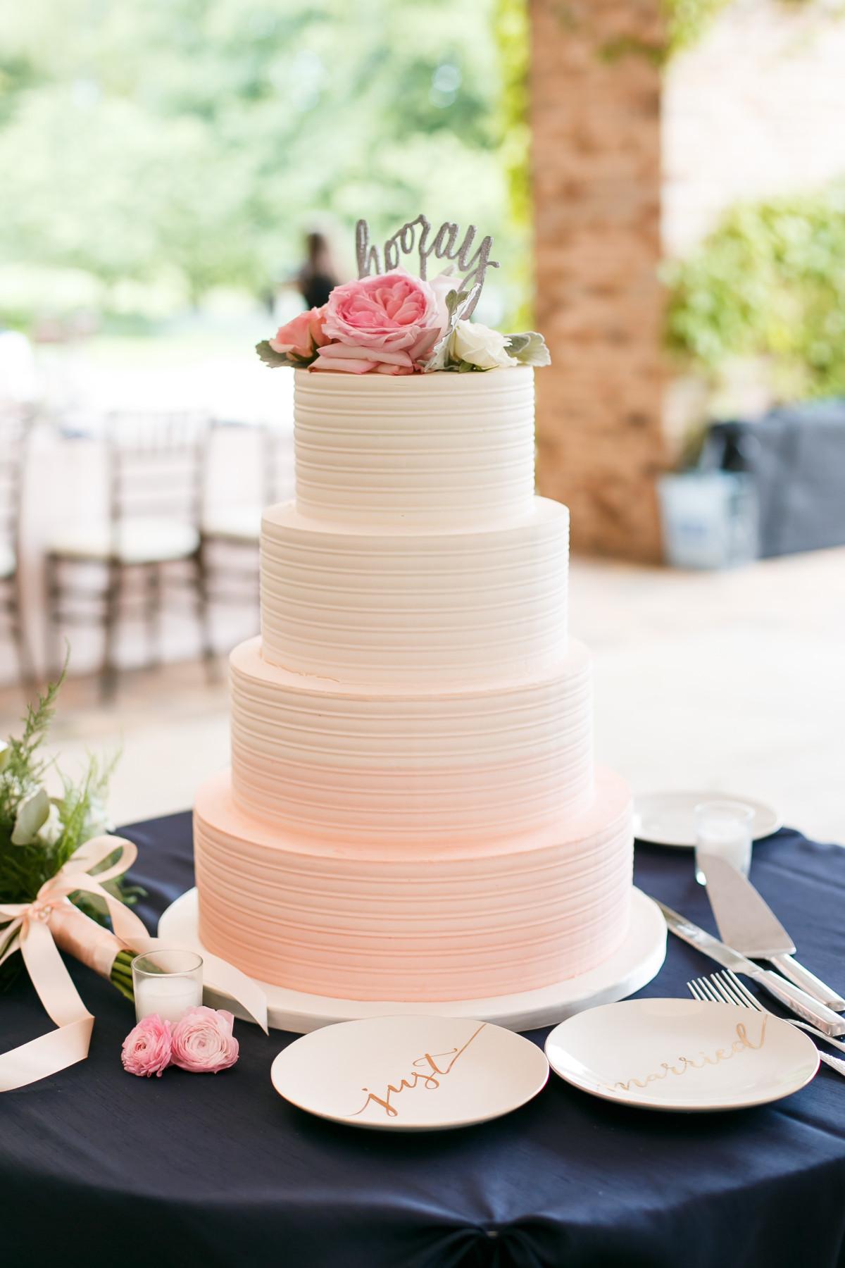 Buttercream Wedding Cakes  Pink Ombre Buttercream Wedding Cake