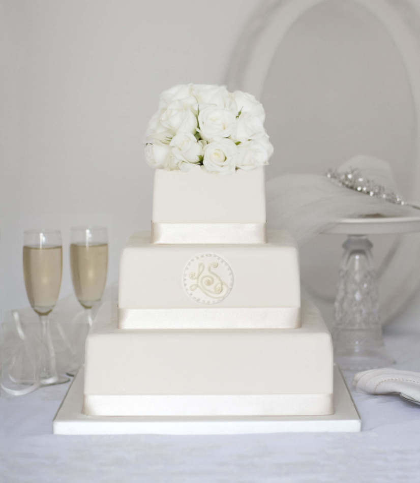 Buying Wedding Cakes  Square online wedding cake with monogram