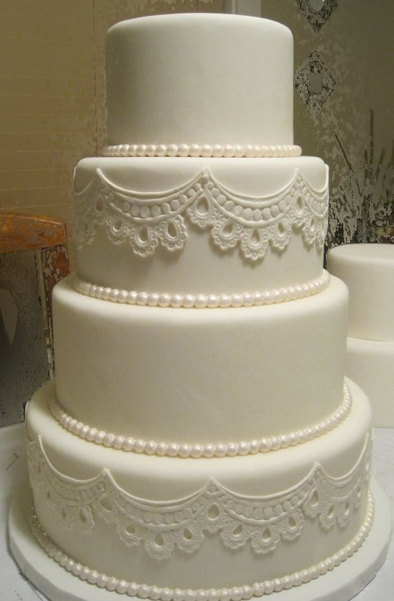 Buying Wedding Cakes  Four Tier Fondant Wedding Cake Fake Wedding Cake Faux