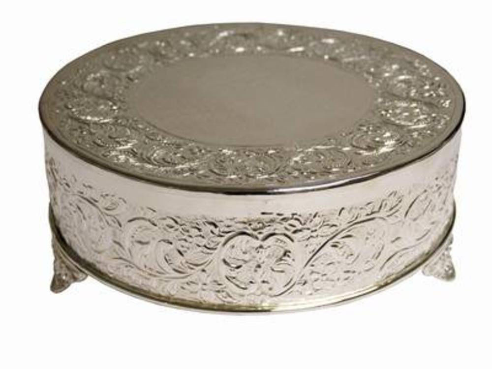 """Cake Plateaus For Wedding Cakes  22"""" Silver Round Cake Plateau"""