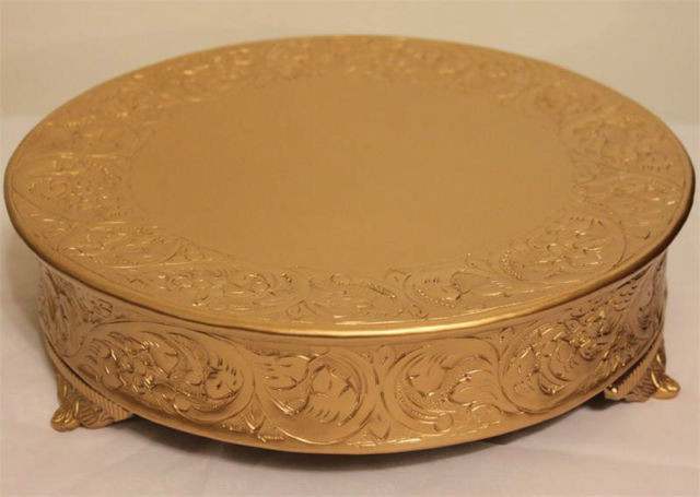 Cake Plateaus For Wedding Cakes  Grand Wedding Matte Gold Round Cake Stand PLATEAU 14 Inch