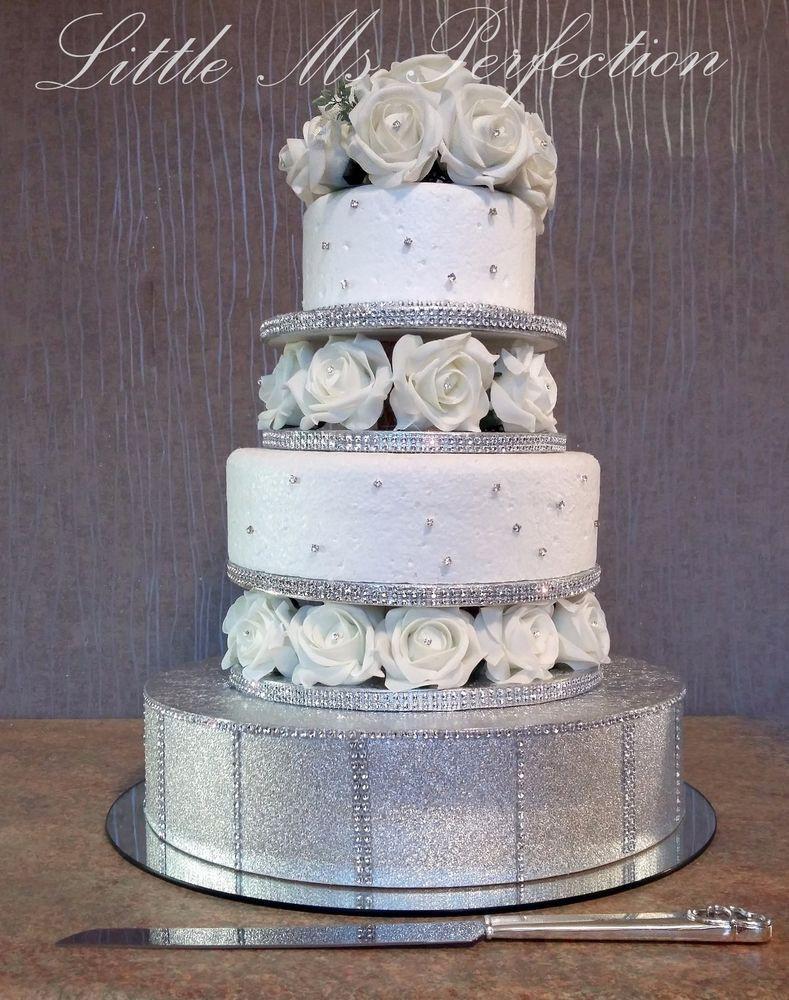 Cake Risers Wedding Cakes  DIAMANTE ROSE FLOWER WEDDING CAKE TIER SEPARATOR STAND