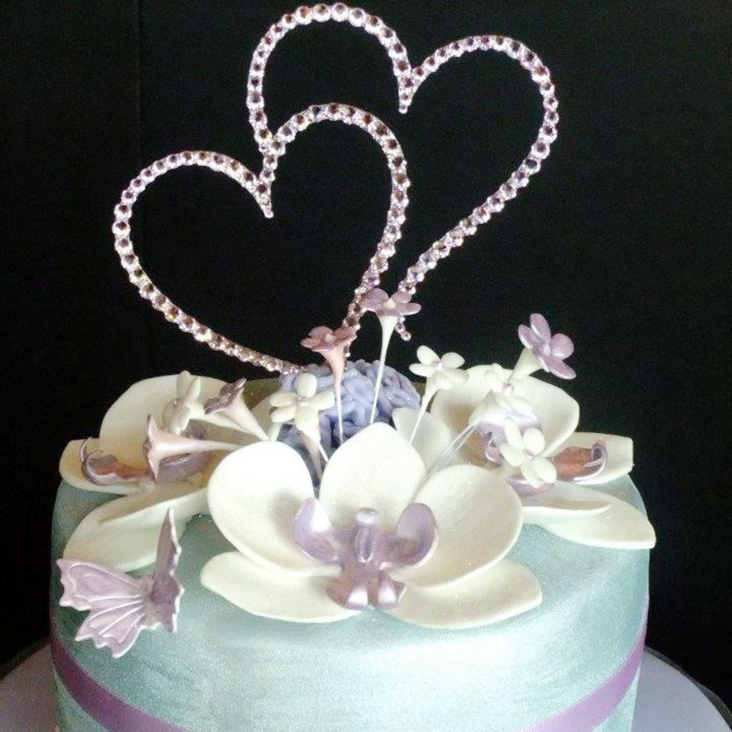 Cake Toppers For Wedding Cakes  Double Heart Wedding Cake Topper Crystal Wedding Cake