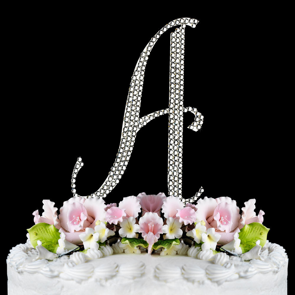 Cake Toppers For Wedding Cakes  Silver Crystal Encrusted Anniversary Wedding Cake Topper
