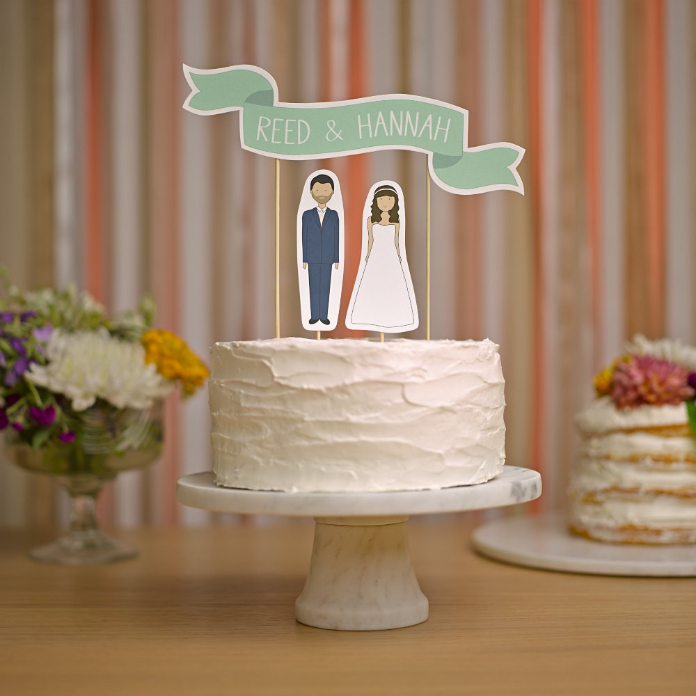 Cake Toppers For Wedding Cakes  Wedding Cake Topper Custom Names Cake Topper Banner No 2