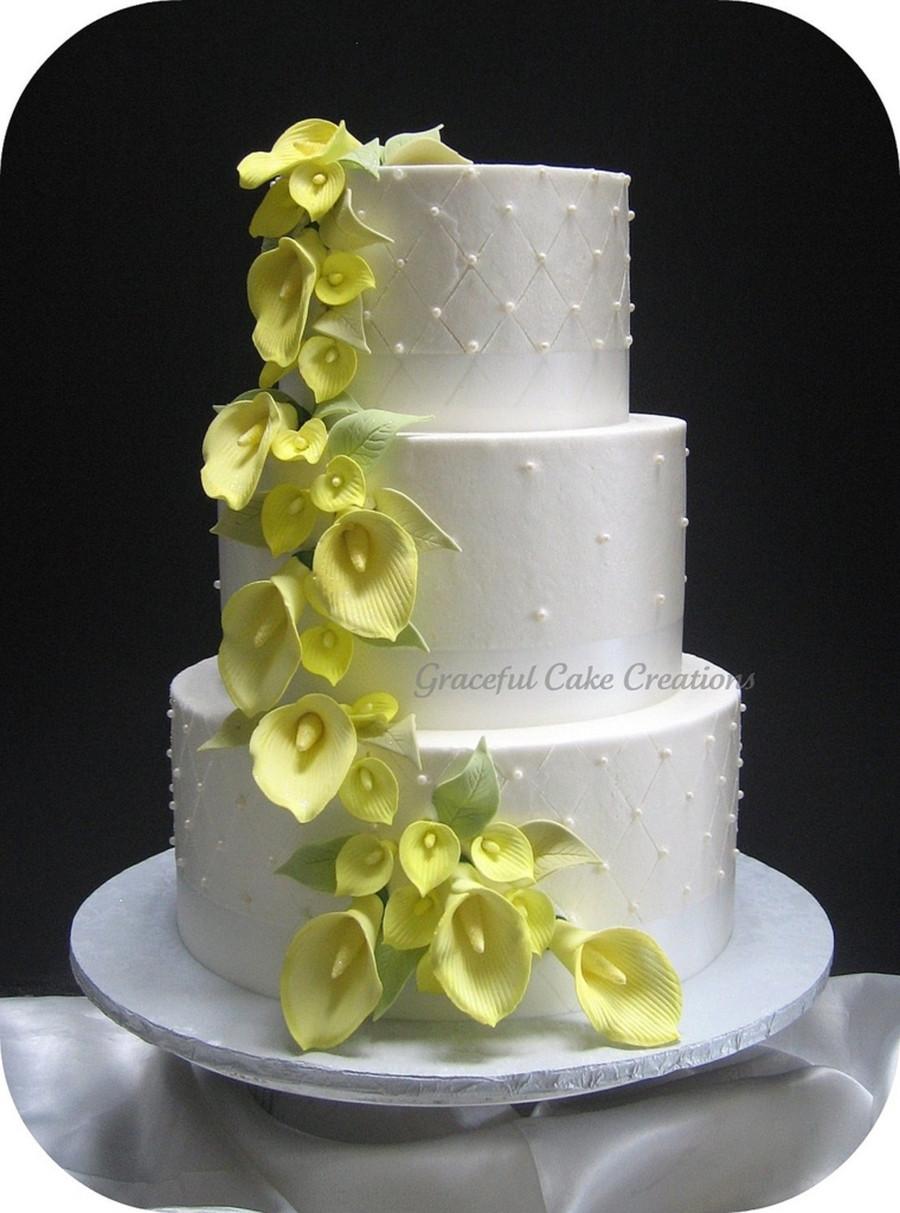 Calla Lilies Wedding Cakes  Yellow Calla Lily Wedding Cake CakeCentral