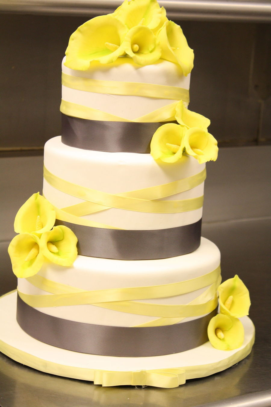 Calla Lilies Wedding Cakes  Calla Lily Wedding Cake In Grey And Yellow CakeCentral