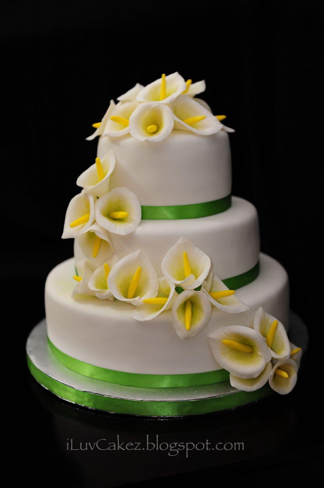 Calla Lilies Wedding Cakes  iLuv Cakez Calla Lily Wedding Cake Daniel & Susan
