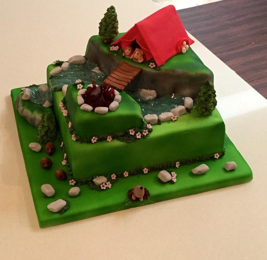 Camping Birthday Cake  Camping Birthday Cake CakeCentral