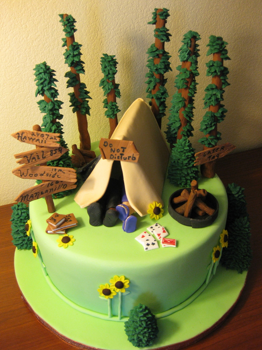 Camping Birthday Cake  The Camping Cake CakeCentral