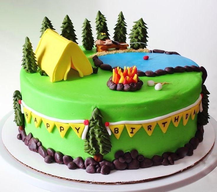 Camping Birthday Cake  Camping Themed Cake