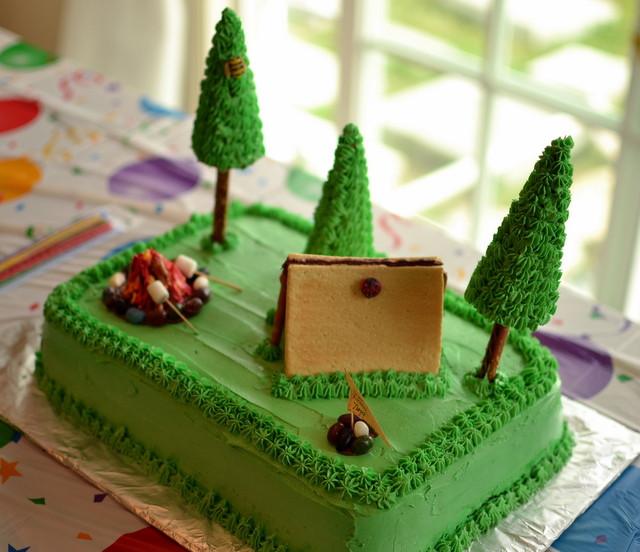 Camping Birthday Cake  Thrifty Decorating Camping Birthday Cake