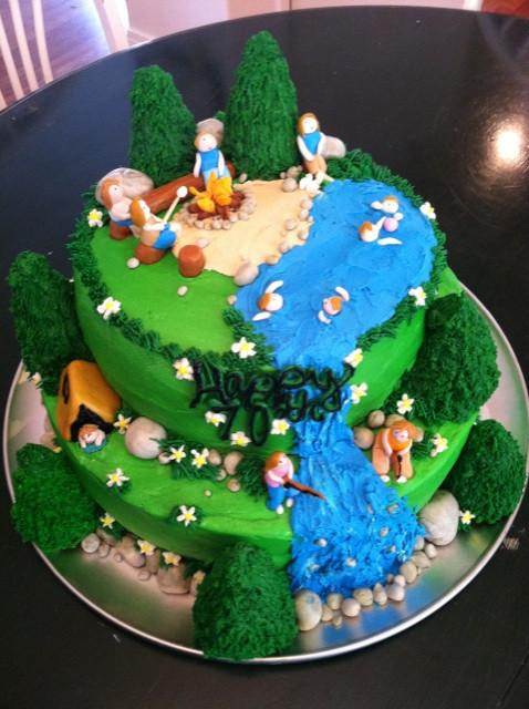Camping Birthday Cake  Cat s Cake Creations Camping Birthday Cake