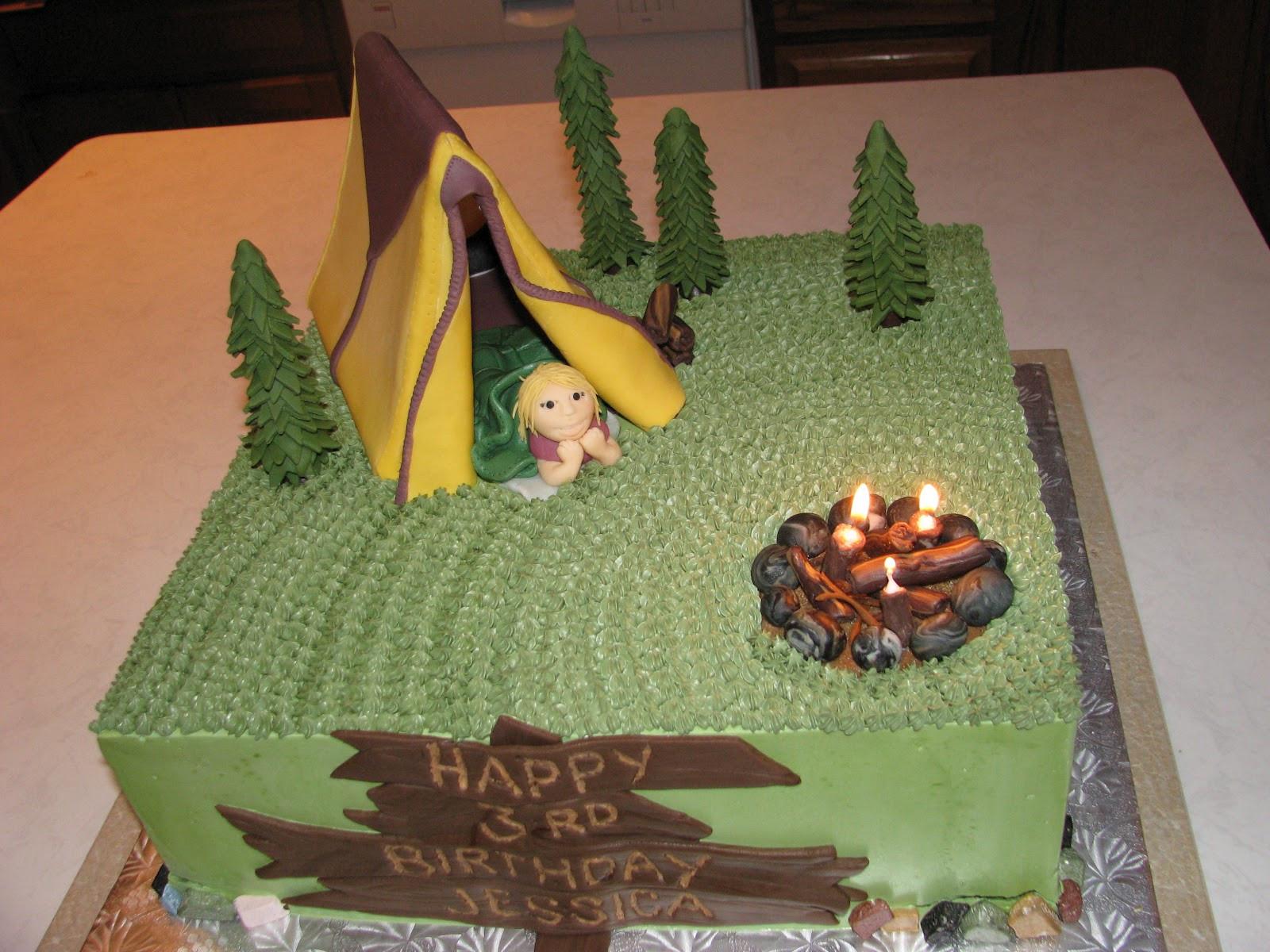 Camping Birthday Cake  Vesna s Party Blog Camping Birthday Party Cake