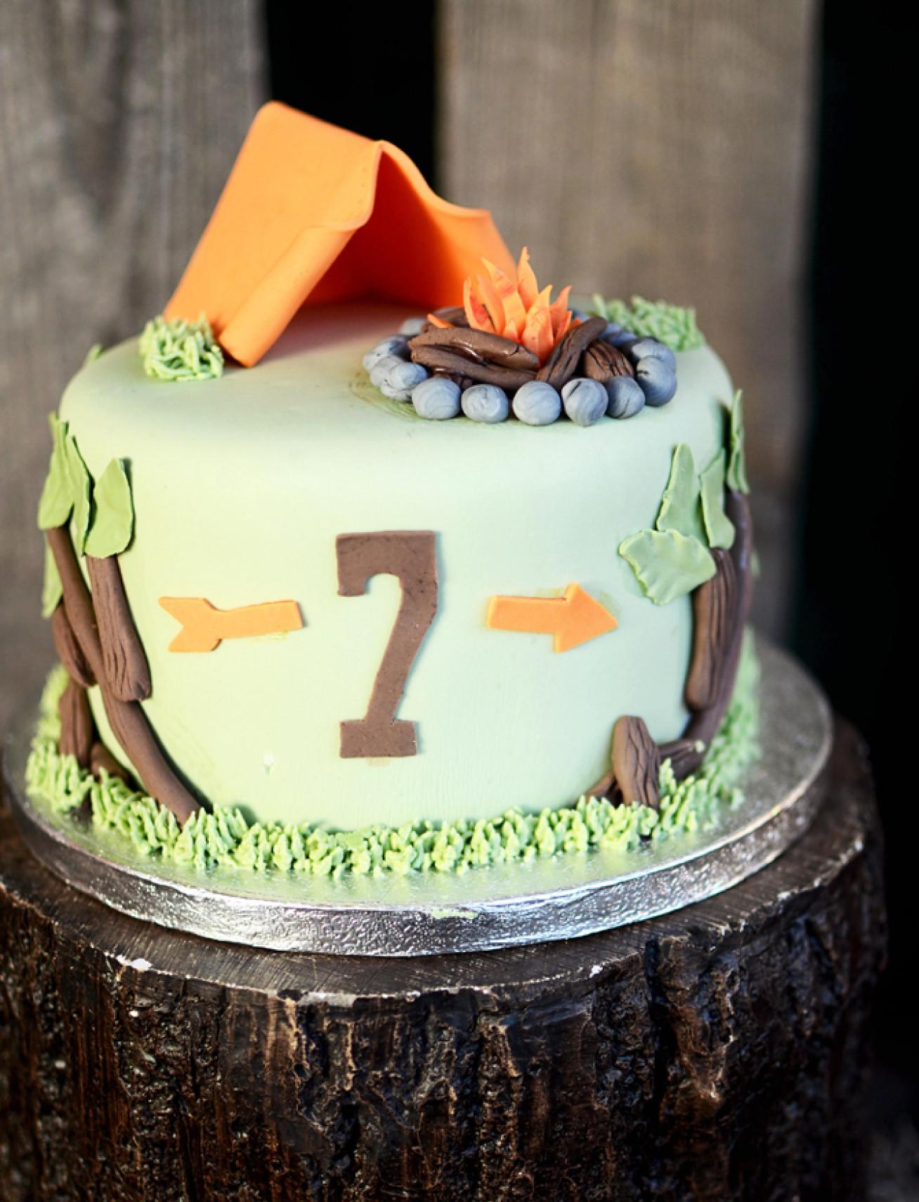 Camping Birthday Cake  A Backyard Camping Birthday Party Anders Ruff Custom