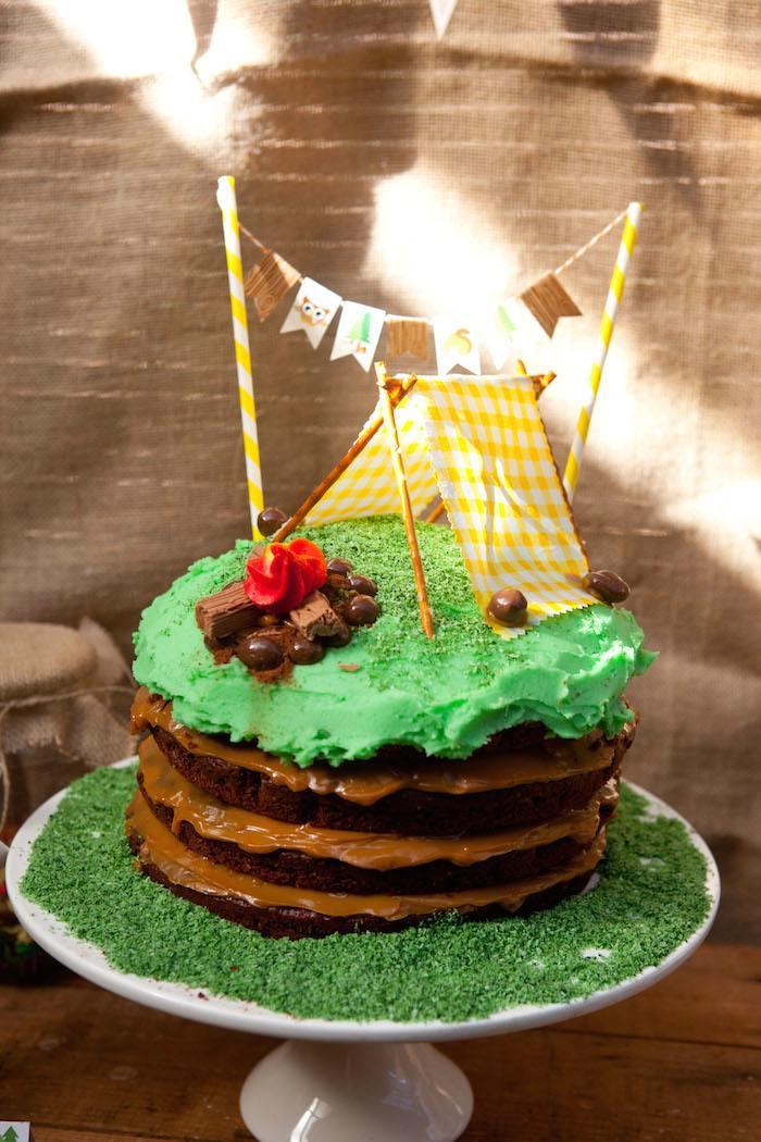 Camping Birthday Cake  Kara s Party Ideas Camping Themed Birthday Party
