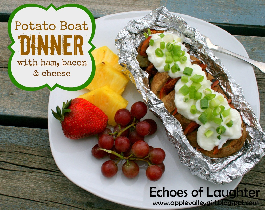 Camping Dinner Recipes  Potato Boat Dinner with Ham Cheese & Bacon in Foil Packet