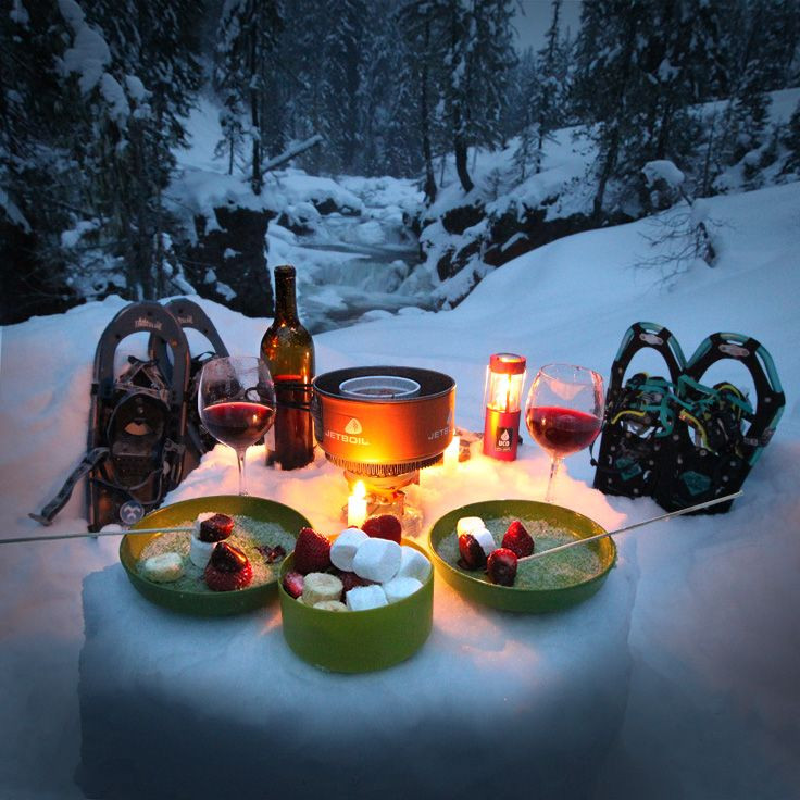 Camping Dinners For Two  A romantic snowshoe and fondue dinner for two My perfect