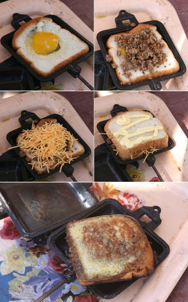 Camping Pie Iron Recipes  Pie Iron Breakfast Sandwich