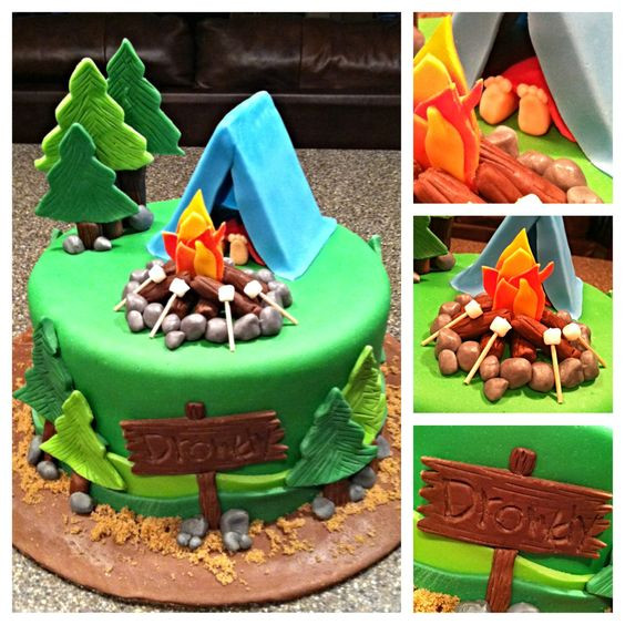 Camping Themed Birthday Cake  Southern Blue Celebrations CAMPING THEMED CAKES CUPCAKES
