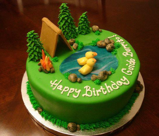 Camping Themed Birthday Cake  Vesna s Party Blog Camping Birthday Party Cake