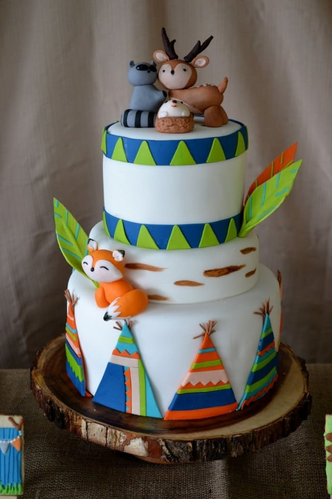 Camping Themed Birthday Cake  Woodland Themed Camping Birthday Party Spaceships and