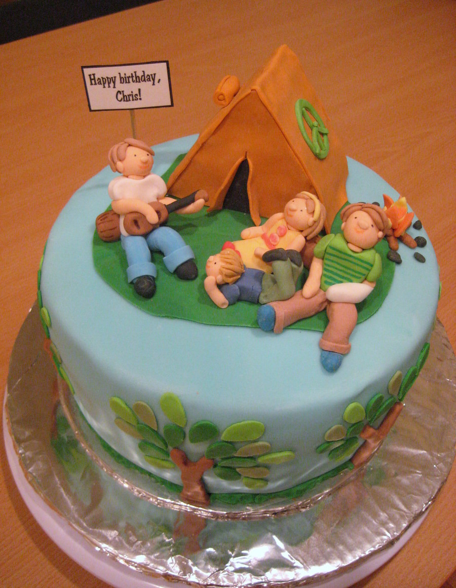 Camping Themed Birthday Cake  Camping Themed Birthday Cake CakeCentral