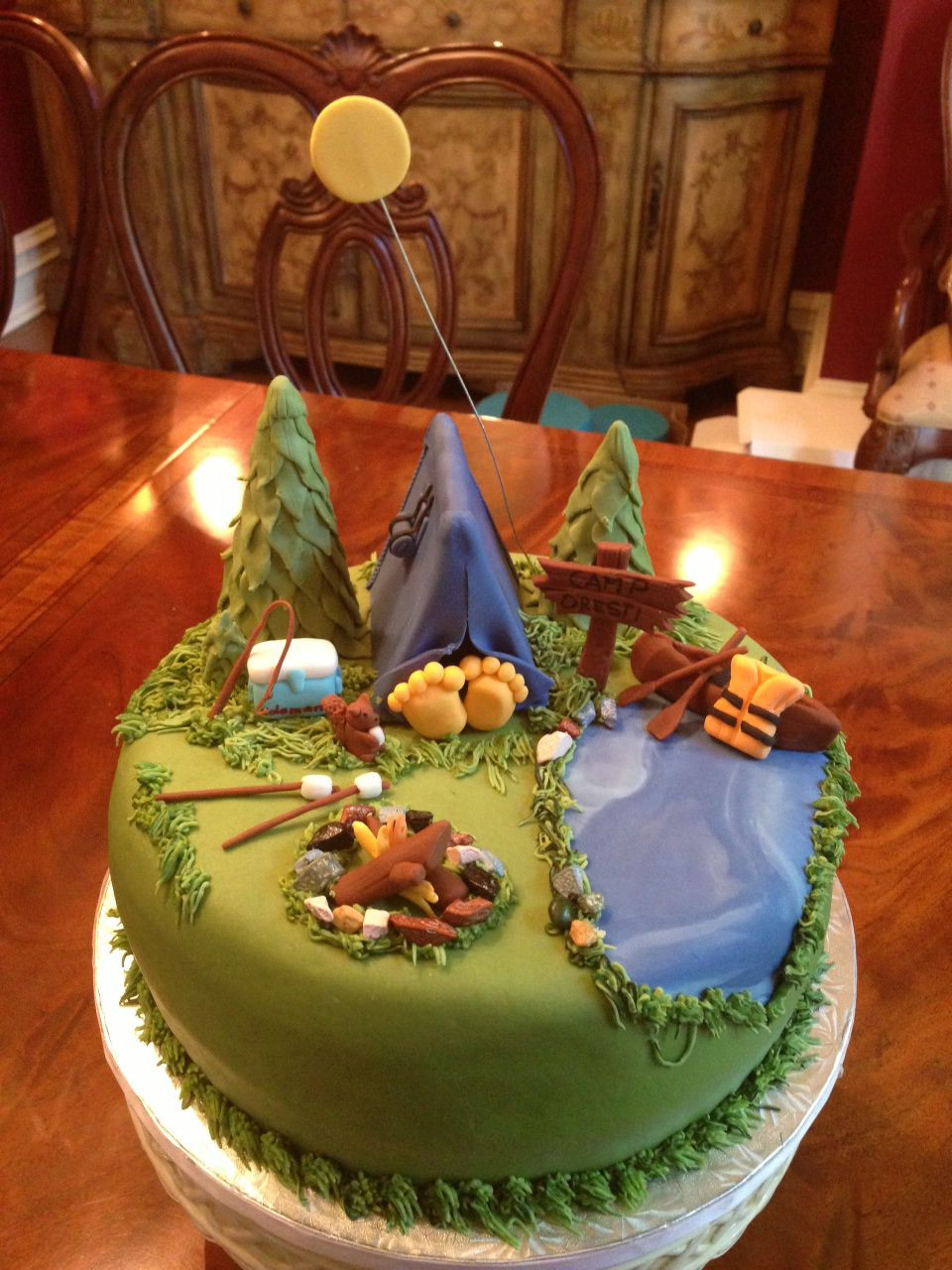 Camping Themed Birthday Cake  Camping themed cake 烘焙 Pinterest