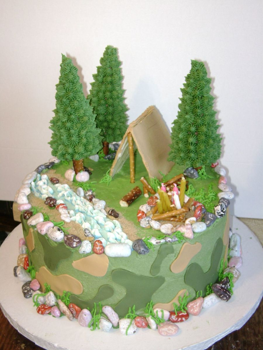 Camping Themed Birthday Cake  Camo camping hunting Themed CakeCentral