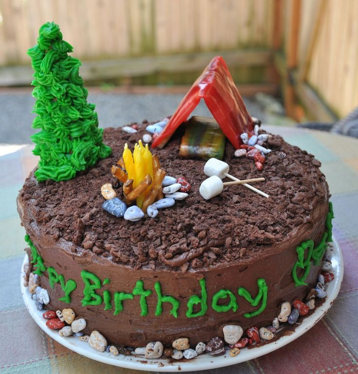 Camping Themed Birthday Cake  Best 25 Camping birthday cake ideas only on Pinterest