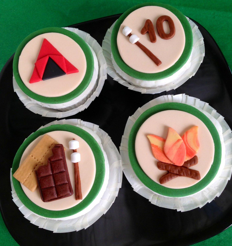 Camping Themed Cupcakes  Camping Themed Cupcake Toppers by FondantFantasy on Etsy