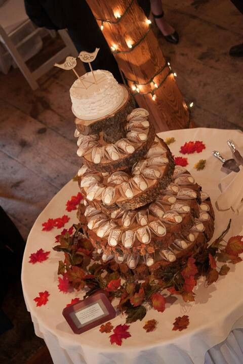 Cannoli Wedding Cakes  Rustic Wood Slice Cannoli Cake Stand