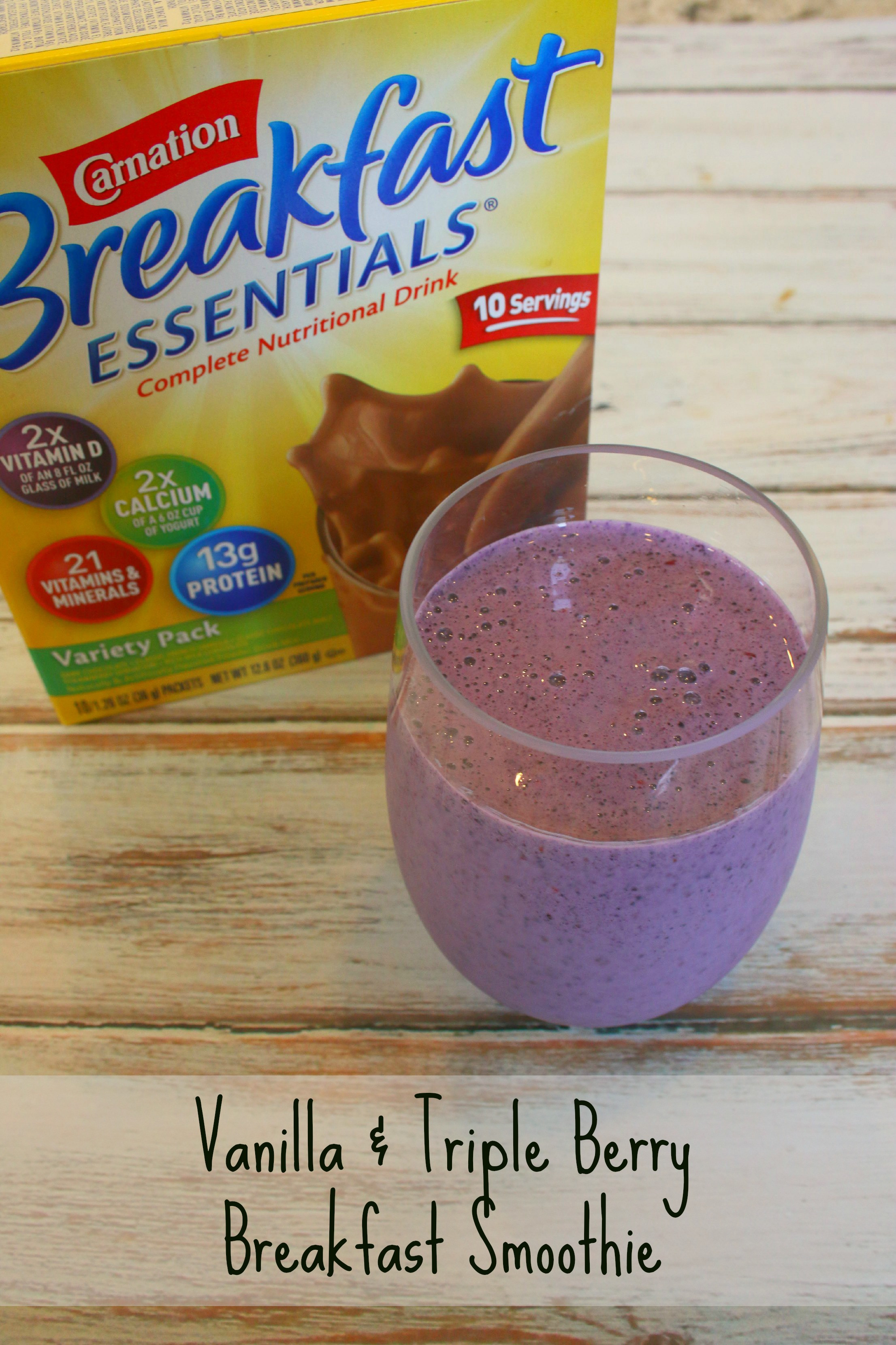 Carnation Breakfast Essentials Healthy  Vanilla and Triple Berry Breakfast Smoothie with Carnation